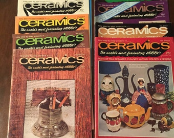 Ceramics: The World's Most Fascinating Hobby ~ 9 Monthly Magazines - 1974-1976~ Vintage Ceramics Books ~ Vintage Hobby Books