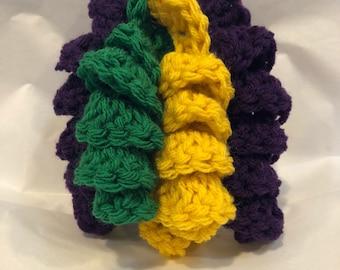 Curly Q Barrette Clip Custom Made, Curl Hair Accessory, Corkscrew Design, Choose Your Colors, Mardi Gras, Personalized Handmade Crochet
