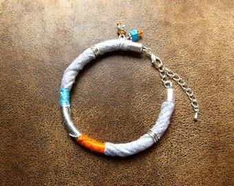 Ethnic bracelet ~ textile ~ * unique * ~ colorful Bracelet ~ Charm Bracelet ~ textile jewelry ~ trapilho Bracelet ~ Boho