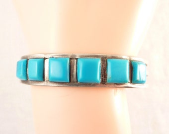 Handmade Vintage Native American Sterling and Turquoise Squares Cuff Bracelet