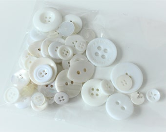 Mixed pack of 50 white buttons, various buttons, pack of buttons, white buttons, sewing notions, 50 white buttons,