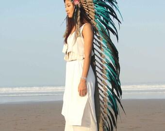 Boho headdress, green teal, super long length.chief warbonnet, indian headdress replica