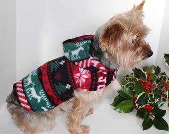 Winter Dog Hoodie, 3XS XXS XS S M L Soft Christmas Fleece Dogs Jacket, In Stock Ready to Ship Designer Fashion Dog Clothing