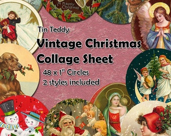 Vintage Christmas Digital Collage Sheet  - 1 Inch Circles x 48  - Christmas circles, ideal for bottle cap jewelry, crakers etc