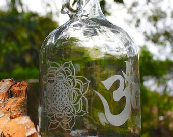 1 Gallon Double Etched Design reusable glass water bottle made by hand