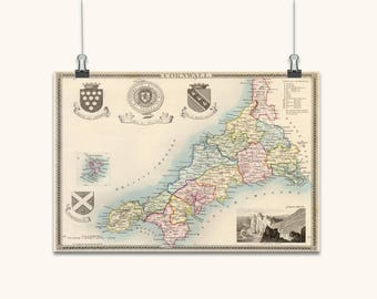MAP OF CORNWALL Wall Art Large On Canvas Antique Style Wall Maps Vintage Wall Decor