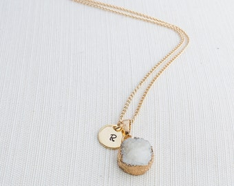 Gold Initial Necklace & White Druzy Gem, Druzy Necklace, Personalised Jewellery, Bridesmaid Necklace, Personalised Gift