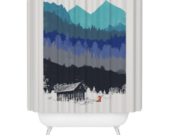 Hunting Season Shower Curtain, Wilderness Nature Lover Bathroom Decor, 72 x 72 Fabric Curtain