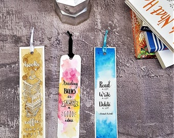 Hand-painted bookmarks with watercolors-Set of 3-gift Idea for books and coffee lovers-hand painting-Original gifts-Aphorisms