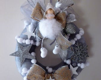 Gray Christmas wreath, Angel feathers, ribbons: Christmas in Salzburg