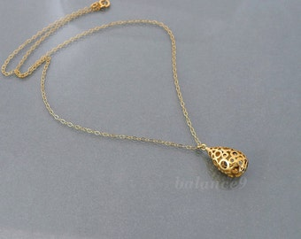 Dainty drop necklace, filigree pendant necklace, gold filled chain, small charm jewelry gift, bubble tear drop, by balance9