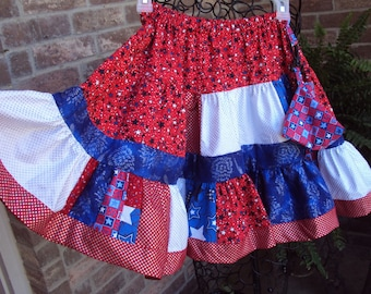 Patriotic skirt,  fourth of July, Americana,  child size 8 OOAK with zipper pouch  Red white Blue