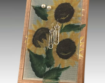 Stud Earring Holder for Pierced Earrings. Wood Frame Jewelry Organizer. Sunflower Design Jewelry Holder with Hand Painted Screen. Gift Idea!