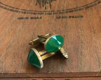 Vintage Men's Hickok Green Glass Deco-style Cufflinks