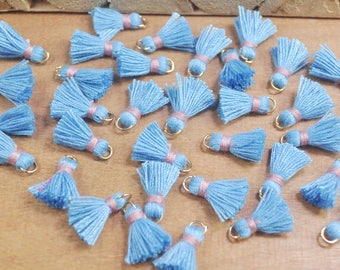 20pcs 15mm Mini Tassels,Sky blue,Short Boho tassels,earring,Small tassels Fringe Trim,DIY Craft Supplies,Jewelry tassels - FH31