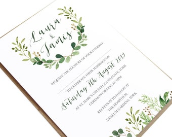 Green Leaf, Watercolour, Greenery, Eucalyptus Wedding Invitations, Green Wreath, Botanical Wedding - SAMPLE