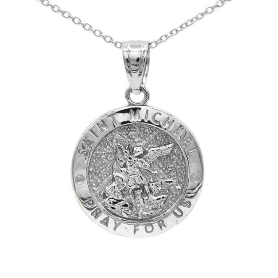 925 Sterling Silver St Michael The Archangel Pendant Necklace (Comes with an 18