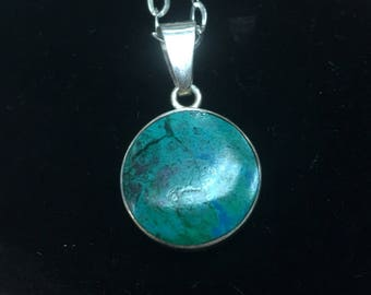 Agate and Amazonite Double Sided Pendant