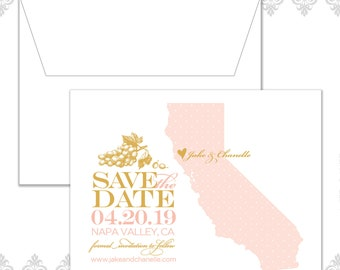 State Save the Date California (available in all U.S. states), Custom state save the date, Napa Wedding, Wine, Grapes, California Wedding