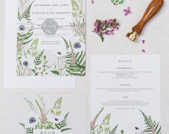 Lewis Wild Meadow - SAMPLE PACK / Digital Download - Semi-custom Botanical Wedding Invitation Suite
