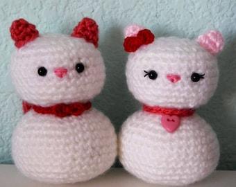 PDF PATTERN: Crochet Valentine Amigurumi Cats Leo and Charlotte