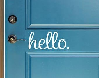 Hello Vinyl Door Decal - Hello Front Door Decals, Hello Home Office Decor, Custom Vinyl Decals, Hello Vinyl Decal, The Vinyl Company 11.6x5