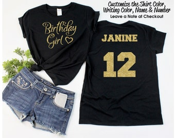 Lots of Hearts Birthday Girl Shirt with ANY AGE and NAME - Personalize the  Colors - All Glitter Option - Birthday Party Shirt