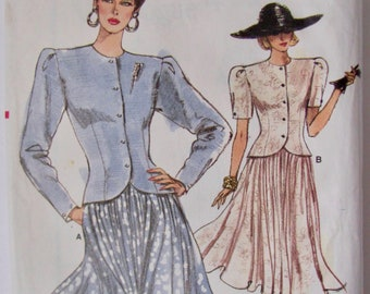 Semi Fitted Jacket Like Top, Pleated Cap Sleeve,  Full Flared Skirt, Midi or Below The Knee, Vogue 7119, Vintage 1988 , Sewing Pattern