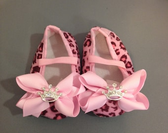 Baby Girl Shoes with Rhinestone Crown- Perfect baby shower gift fit for a Princess