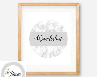 Wanderlust PRINTABLE, Wanderlust Poster, Wanderlust Print, Wanderlust Sign, Marble Printable, Marble Print, Bedroom Wall Art, Marble Decor