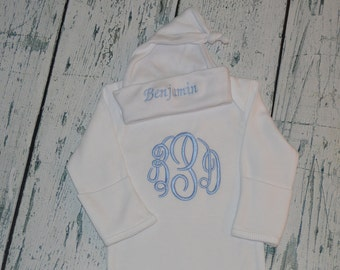 Monogrammed Newborn Gown and Cap Layette set Personalized Baby Coming Home outift