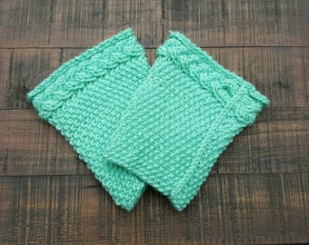 Handmade knit boot cuffs (boot socks, leg warmers) in aqua with braided cable, knit boot socks, unique gift