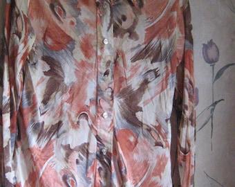 60s /  1970  mod hippie   nylon    ATOMIC  print disco shirt  sz 36
