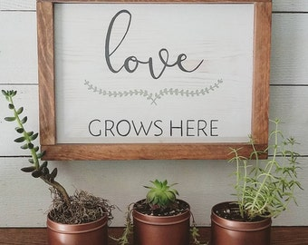Love Grows Here, Garden Theme, Framed, Hand Painted, Wood Sign