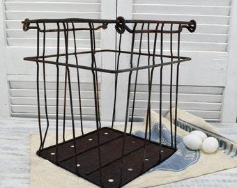 Rustic Metal Egg Crate - wire basket - Primitive Farmhouse Decor