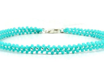 Aqua Anklet - Seed Bead Anklet - Chain Ankle Bracelet - Beadwork Jewelry - Summer Anklet - Beach Jewelry - Bead Jewelry