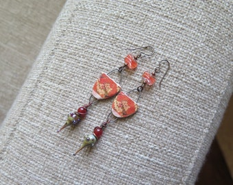 tangerine orange floral earrings, unique floral jewelry, cherry blossom earrings, Mother's Day earrings present, ceramic and glass earrings