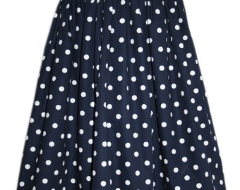 Ladies gathered skirt in navy spot poplin - UK size 10- Made in the UK