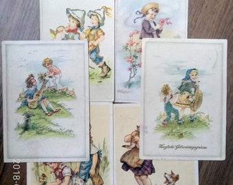 The eight vintage Postcard Children