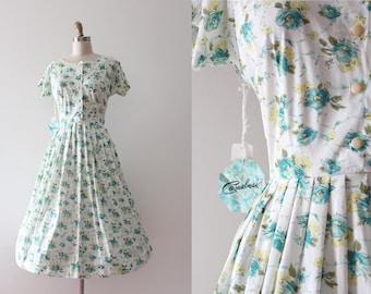 NOS vintage 1950s dress // 50s floral day dress