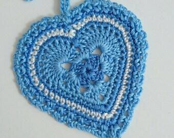 Hanging heart crochet ornament door hanger cotton thread home decor blue