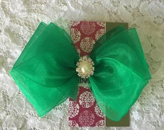 Emerald Green Organza Hair Bow with Rhinestone & Pearl Center, Sparkle Flower Girl Hair Bow, Baby Hair Bow, Green Hair Bow, Pageant Hair bow