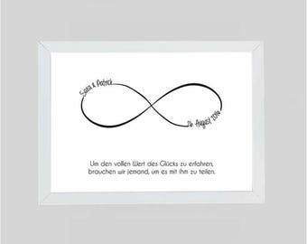 DIN A4-Personalized image, Infinity, Valentine's Day, wedding gift, nicer with your name, date + dedication
