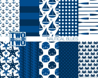 """Nautical Digital Paper: """"NAUTICAL BLUES"""" Patterns, Nautical Background, Starfish, Sailboat, Anchor and Stripes, Printable Scrapbooking Paper"""