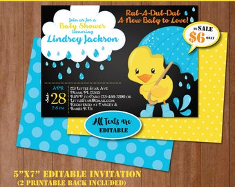 Duck baby shower etsy rubber duck baby shower invitation self editing chalkboard rubber ducky baby shower invite filmwisefo