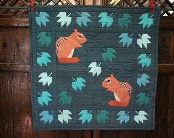 Price Reduced:  Small Quilt Hanging of Two Squirrels with leaves and acorns