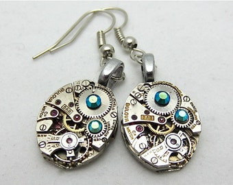 Blue Ice  - Steampunk Earrings - Repurposed art