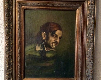 Sale Antique Oil Painting Portrait of a Pirate Gentleman O/C European Art Framed Home Decor
