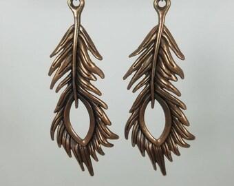 Copper feather dangle earrings