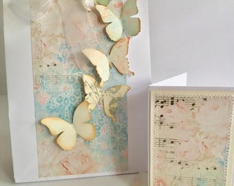 Shabby chic vintage butterfly design giftbag